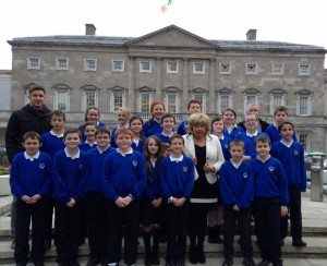 Outside Leinster House with Senator Mary Moran.