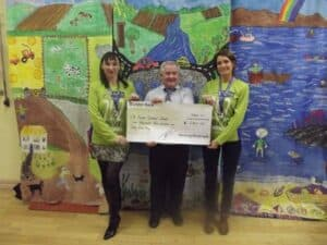 Eileen and Mary present the cheque to Mr McEneany